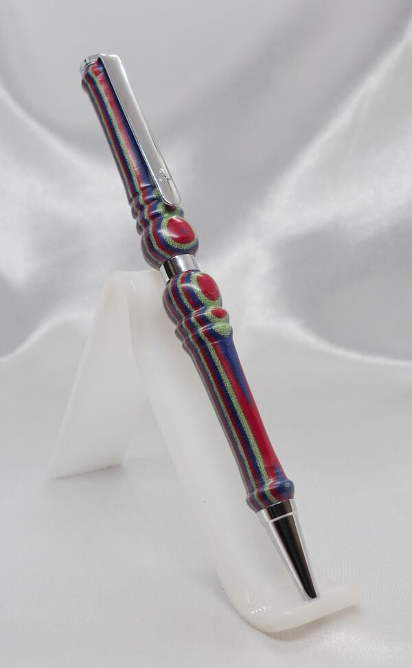Chrome Plated Slimline Pen in Cotton Fabric