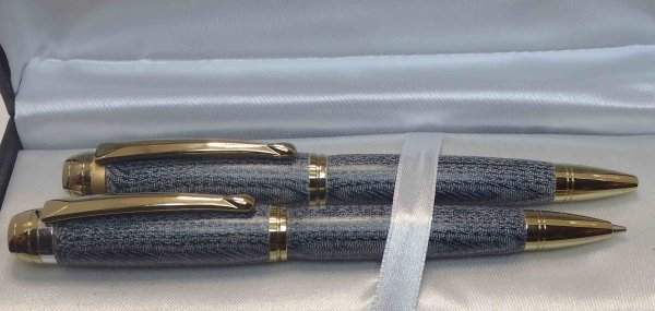 Titanium Gold Mistral Pen & Pencil set in Denim