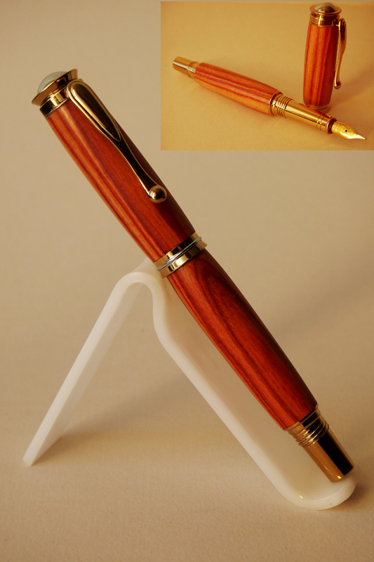 Titanium Gold plated Retro Fountain pen in Tulip Wood.SOLD