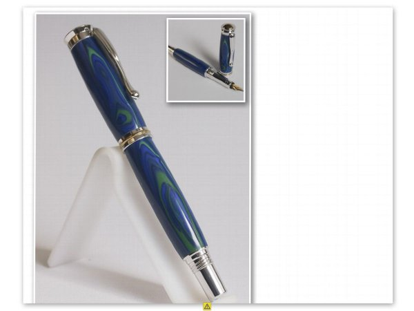 Rhodium Plated Fountain Pen in Tru-Stone