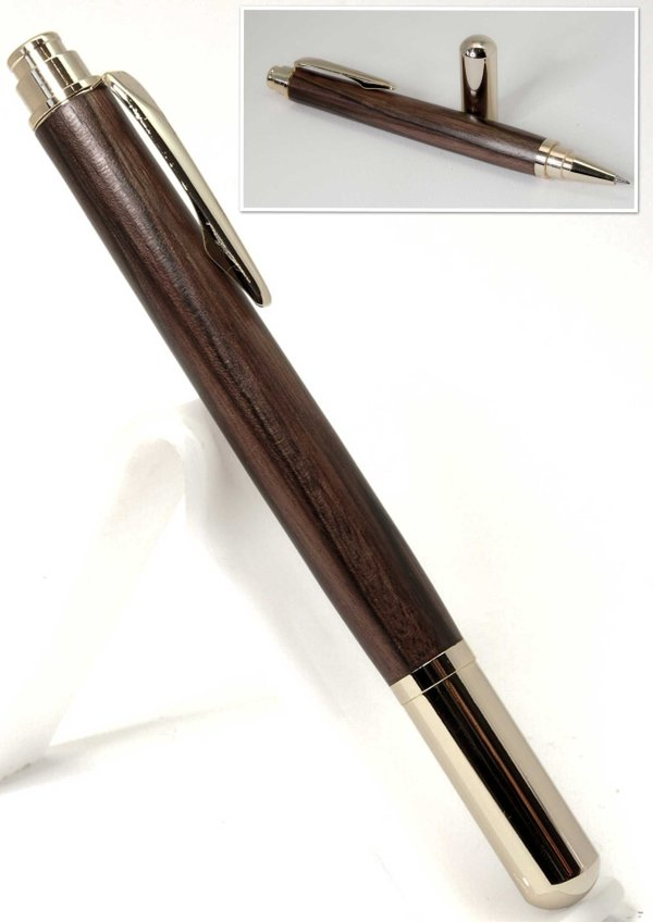 Diplomat Rollerball Pen in 24k Gold Plating and Mun Ebony