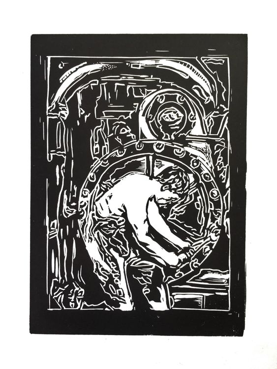 Power House Mechanic - Lino Print