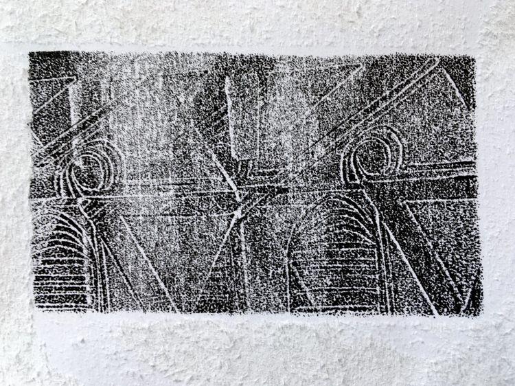 Imprinted House - Lino Print
