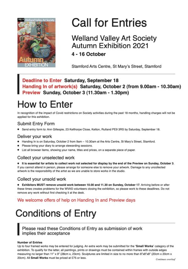 Autumn Exhibition Call to Entries 2021