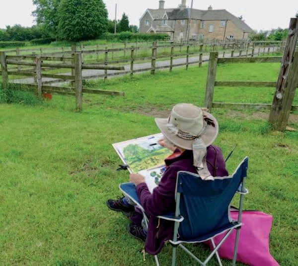 Livery stables near Kings Cliffe presented many potential subjects… here Denise Wright is hard at work on a watercolour.