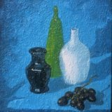 still life with green bottle and white vase