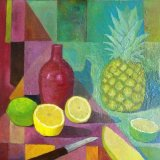 stilllife with pineapple and red vase