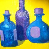 three violet bottles
