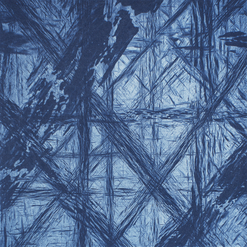 Blue Abstract II - Polymer Photogravure Print