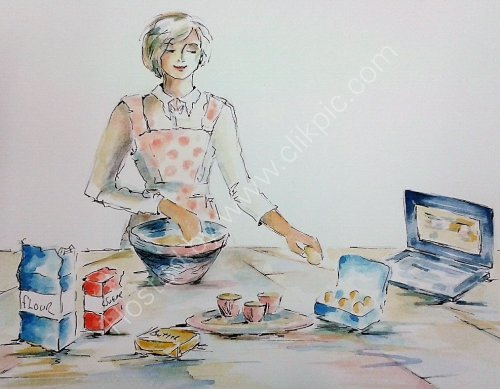 cake making day, Pen and Wash.