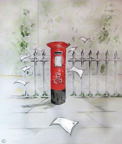 Post Box - watercolours