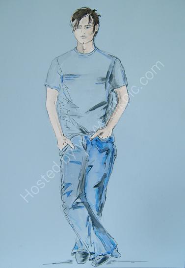 Sean in Blue<br> Watercolour.