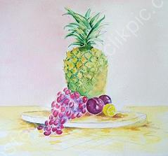 pineapple and fruits-watercolour & ink