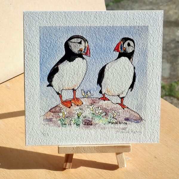 2 Puffins with Easel