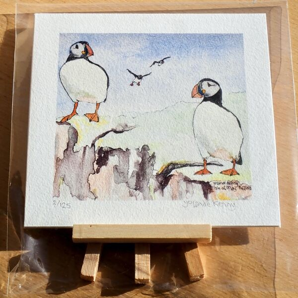 4 Puffins with Easel