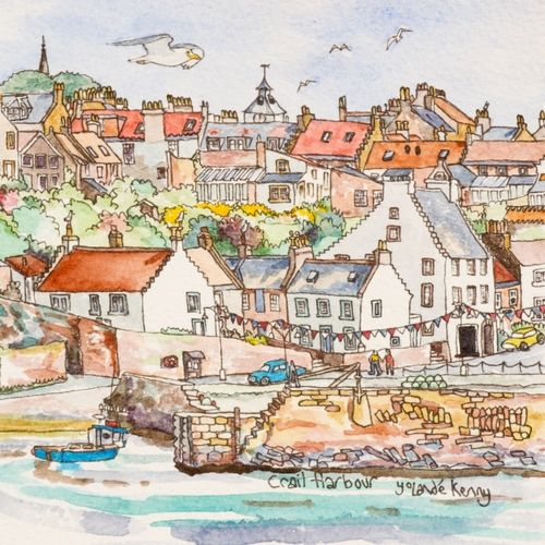 Print 'Crail Harbour' with Easel... £20