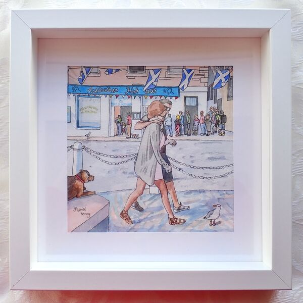 Framed Original Anstruther's Busy Chippy in box frame