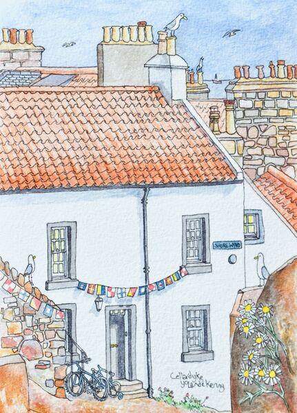 Framed Original Watercolour 'Shore Wynd Cottage in Cellardyke'... £125