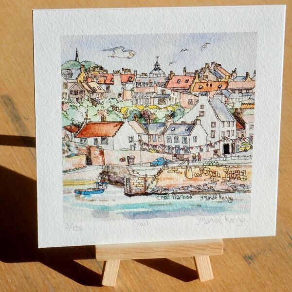 Crail Harbour Print with easel