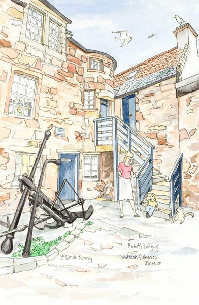 Framed Original ' Abbot's Lodge, Scottish Fisheries Museum, Anstruther'... Sold