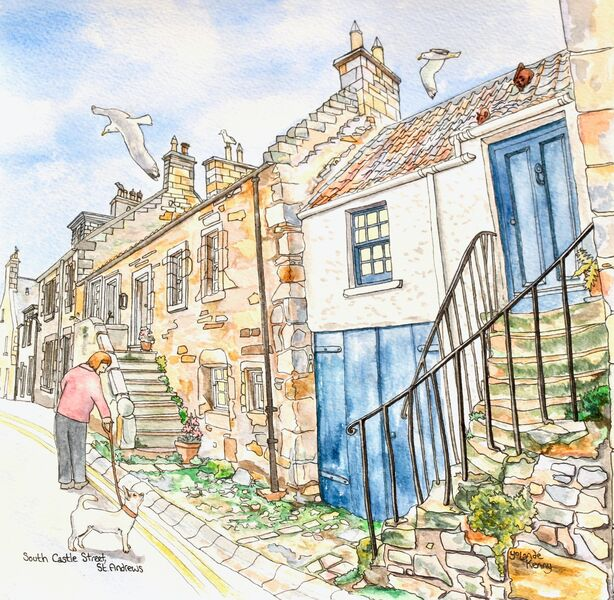 Framed Original 'South Castle Street, St.Andrews (cat and mouse house)'... Sold