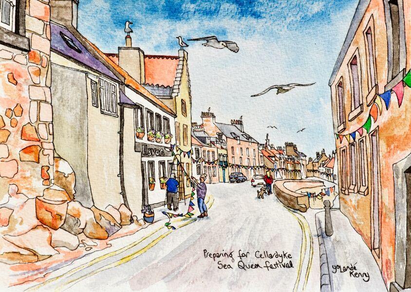 Framed Original 'Preparing for Cellardyke Sea Queen Festival'... Sold