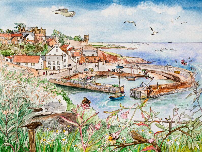 Framed Original Watercolour 'Crail Harbour'.. Sold