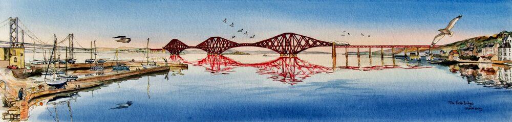 Original Watercolour 'The Forth Bridges'.. Sold