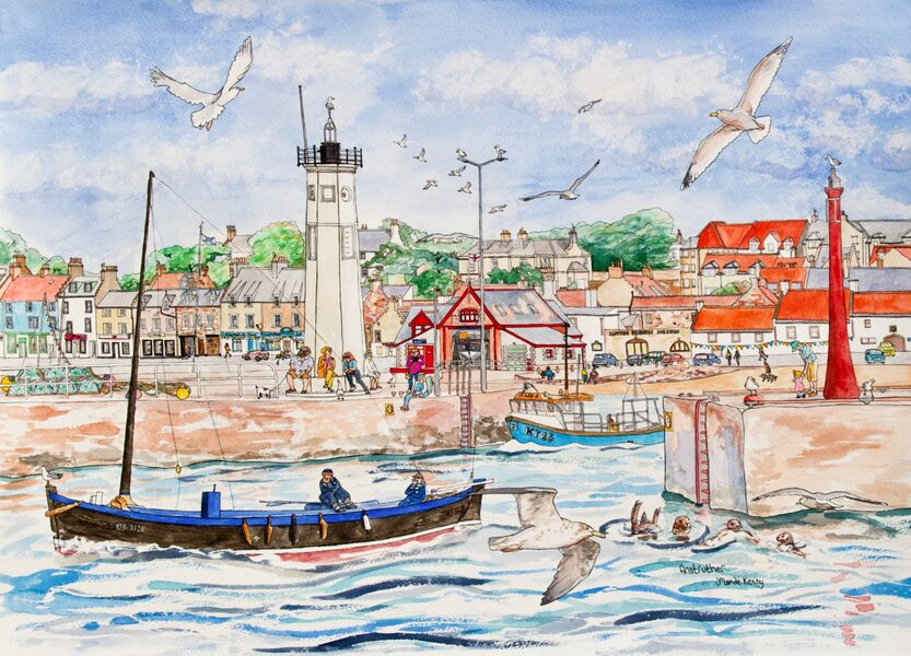 Original Watercolour 'Anstruther's Busy Harbour'