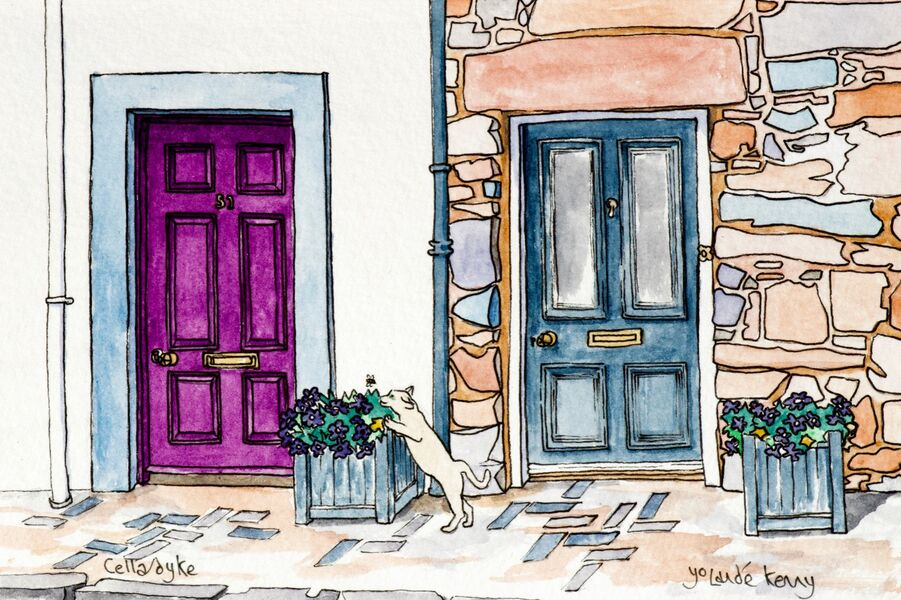 Original Watercolour 'Pretty Doors in Cellardyke' with Display Easel.. £45