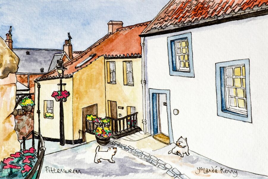 Original Watercolour 'Pittenweem Wynd' with Display Easel... Sold