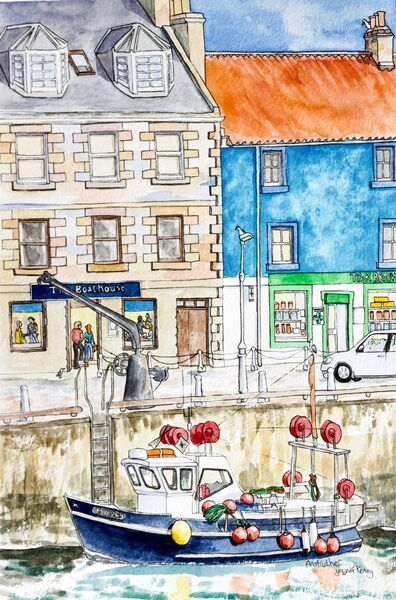 Framed Original Watercolour 'Anstruther'.. Sold