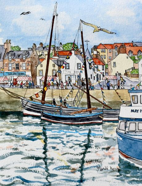 Framed Original Watercolour 'Anstruther Harbour Festival with Herring Boats'