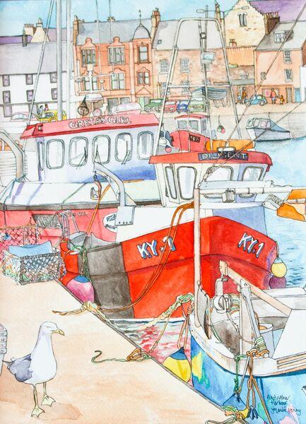 Framed Original 'Greta's Girl (Creel Boats at Anstruther Harbour)'... Sold