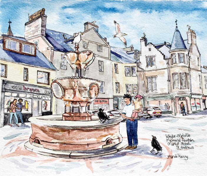 Framed Original 'Whyte-Melville Memorial Fountain, St Andrews'... Sold