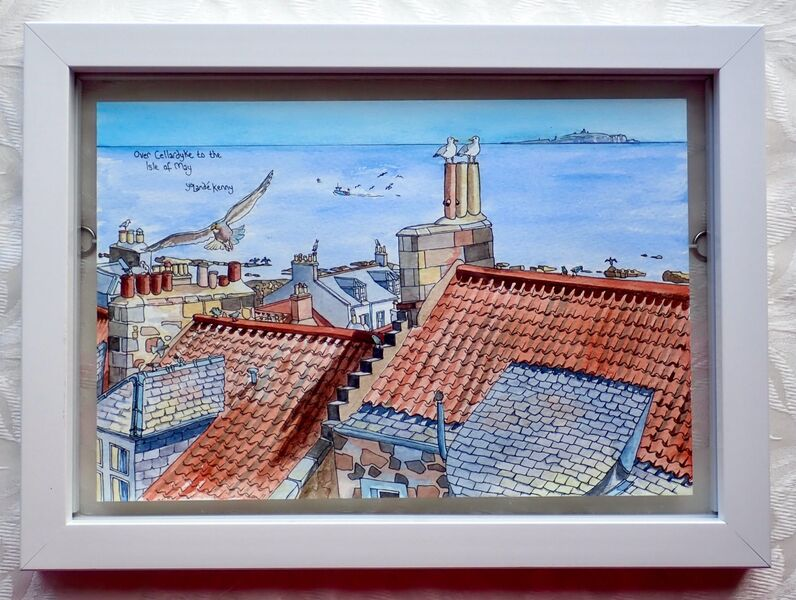Framed Original Over Cellardyke Rooftops to the Isle of May.. £125