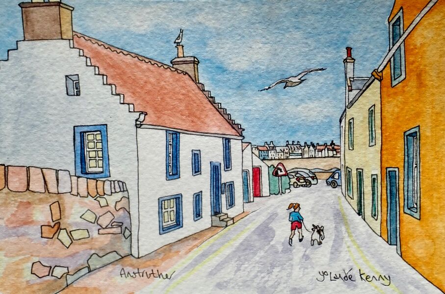 Original Watercolour 'Shore Street, Anstruther' with Display Easel.. Sold