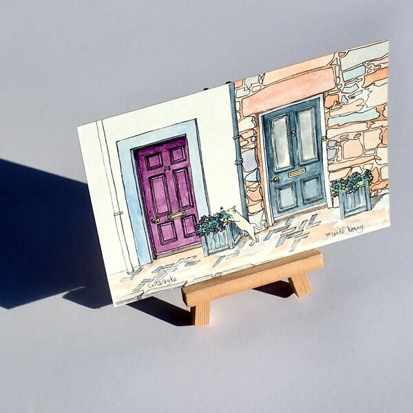 Original Watercolour'Pretty Doors in Cellardyke' picture shows display easel