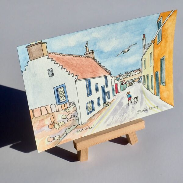 Original Watercolour 'Shore Street, Anstruther' with Display Easel 2