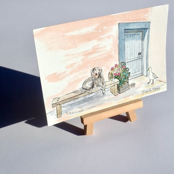 Original Watercolour 'Whose is this dinner at this Pittenweem cottage?' 2 with Display Easel