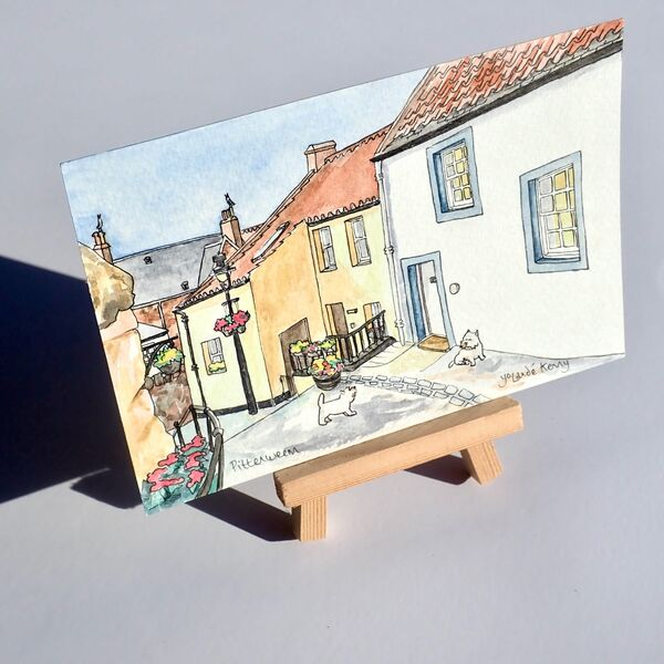 Original Watercolour 'Pittenweem Wynd' with Display Easel 2