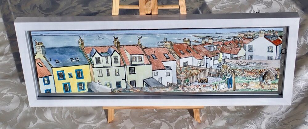 Framed Original Watercolour 'View over Midshore Rooftops in Pittenweem' 4
