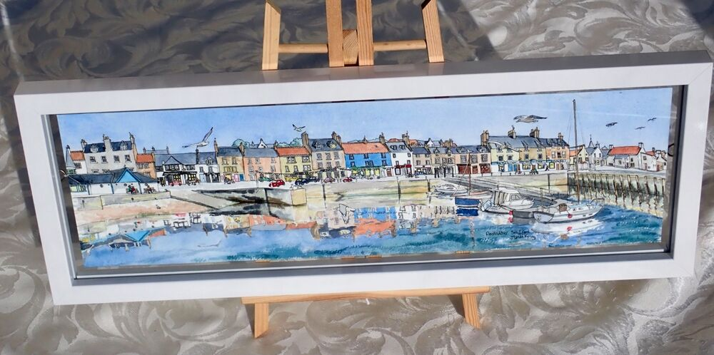 Framed Original Watercolour 'Anstruther Seafront' 3