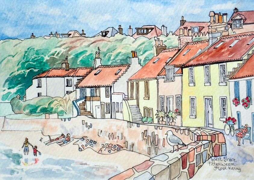 Original Watercolour 'West Shore, Pittenweem' with Display Easel.. Sold