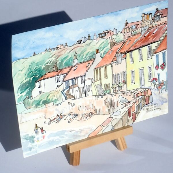 Original Watercolour 'West Shore, Pittenweem' with Display Easel 2