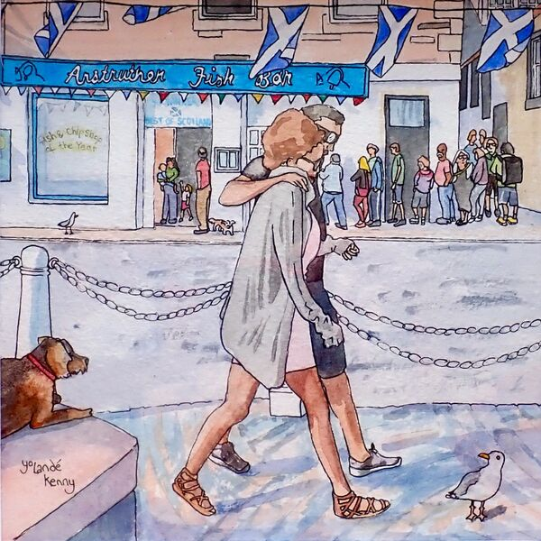 Framed Original Watercolour 'Anstruther's Busy Chippy'... £175