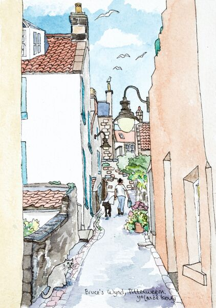 Framed Original Watercolour 'Up Bruce's Wynd, Pittenweem'... Sold