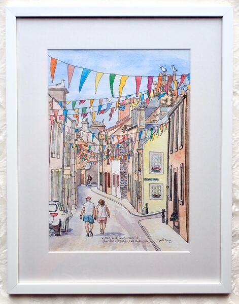 Framed Original of Walking Along George and John Street in Cellardyke £155