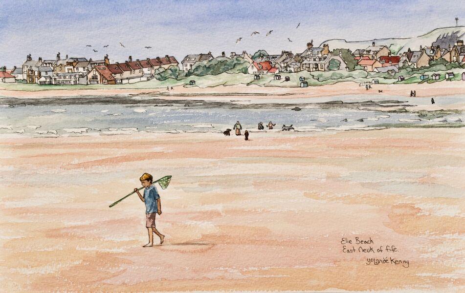 Framed Original Watercolour 'Elie Beach'... £225