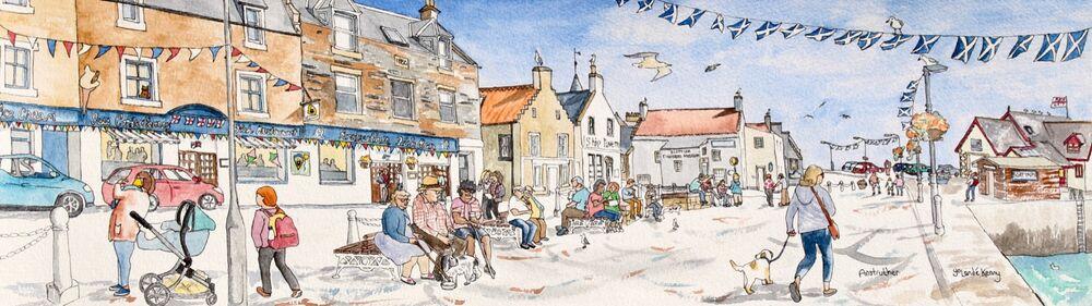 Framed Original Watercolour 'Anstruther's Shore Street'